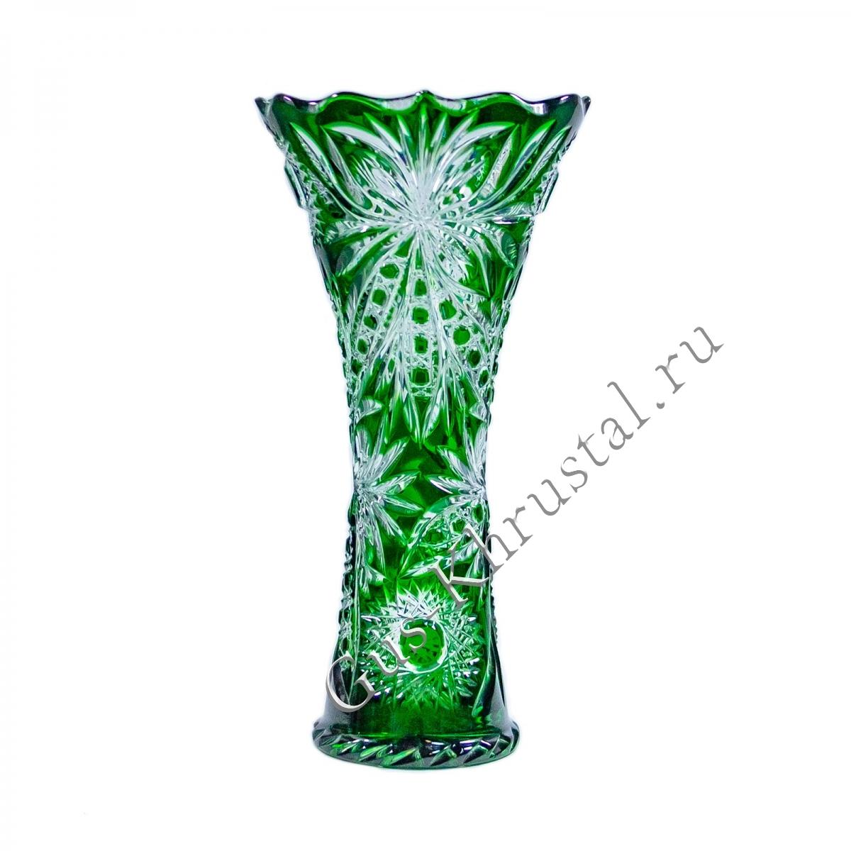 Ваза Хрустальная Для Цветов Лотос зеленая