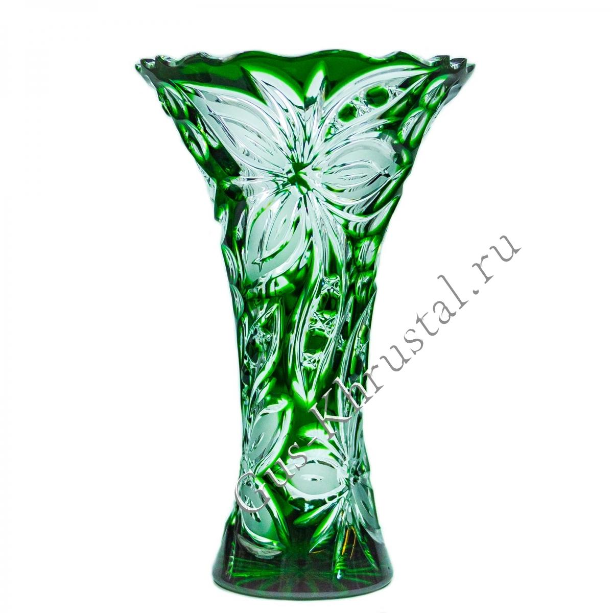 Ваза Хрустальная Для Цветов Серенада зеленая