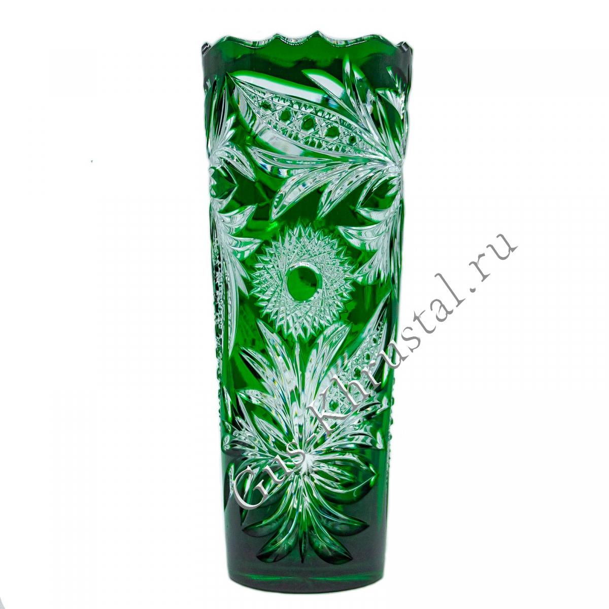Ваза Хрустальная Для Цветов Столб зеленый №1